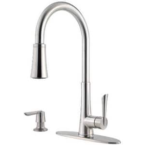 Pfister Mystique™ 1.75 gpm Single Lever Handle Deckmount Kitchen Sink Faucet 360 Degree Swivel High Arc Pull-Down Spout Threaded Connection PGT529MD