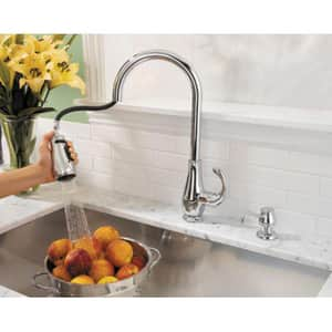 Pfister Treviso™ 2-Hole Pull-Out Spray High Arc Kitchen Faucet with Single Lever Handle PGT529D