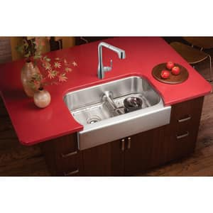 Elkay Gourmet® 13-7/16 in. 2-Bowl Stainless Steel Undermount Kitchen Sink in Bright Highlighted Satin EEAQDUHF3523R