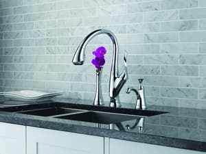 Brizo Belo® 1.8 gpm Single Lever Handle Deckmount Kitchen Sink Faucet 360 Degree Swivel Pull-Down Spout 3/8 in. Compression Connection D63052LF
