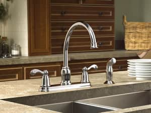 Moen 1.5 gpm Double Lever Handle Kitchen Sink Faucet High Arc Spout 1/2 in. IPS Connection MCA87004