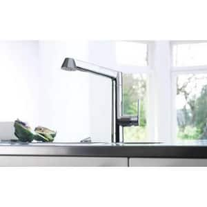 Grohe 2.2 gpm Single Lever Handle Deckmount Kitchen Sink Faucet Pull-Out Spout G32178