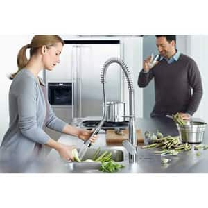 Grohe 2.2 gpm Single Lever Handle Deckmount Kitchen Sink Faucet 140 Degree Swivel Pull-Out Spout 3/8 in. Compression Connection G32951