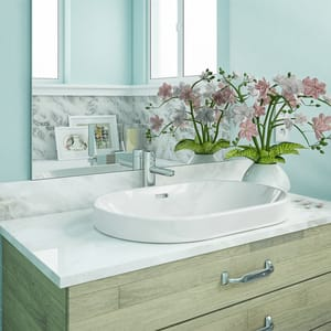 DECOLAV® Classically Redefined™ 23 in. Race Track Shape Semi-Recessed Lavatory White D1456CWH