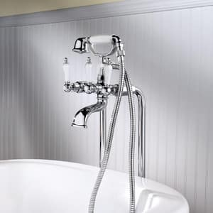 Pfister Wall Mount Tub and Shower Combo with Floor Mounting Kit in Polished Chrome P028SVFC