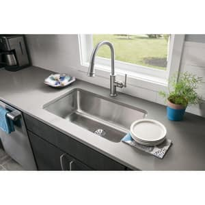Elkay Harmony™ 30-1/2 x 18-1/2 x 10 in. Single Bowl Undermount Sink Lustrous Highlighted Satin EELUH281610PDBG