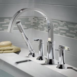 American Standard Berwick® Deckmount Tub Filler with Double Lever Handle A7430901