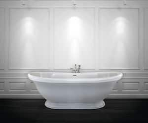 Hydro Systems Georgetown 69 x 35 in. 100 gal Hydroluxe Solid Surface Oval Freestanding Bathtub with Center Drain HGEO7035MTO
