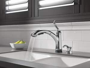 Delta Faucet Linden™ 1.5 gpm Single Lever Handle Deckmount Kitchen Sink Faucet 120 Degree Swivel Pull-Out Spout 3/8 in. Compression Connection D4353TDST
