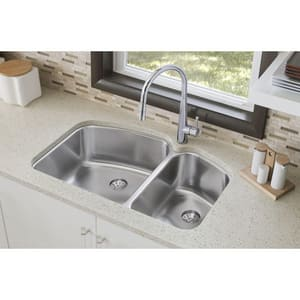 Elkay Harmony™ 2-Bowl Stainless Steel Undermount Kitchen Sink in Lustrous Highlighted Satin EELUH31229RPD