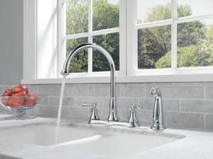 Delta Faucet Cassidy™ 1.8 gpm Double Lever Handle Deckmount Kitchen Sink Faucet 360 Degree Swivel Spout 1/2 in. NPSM Connection D2497LF