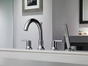Delta Faucet Trinsic® 2 gpm 4-Hole Roman Tub Trim with Hand Shower and Double Lever Handle (Trim Only) DT4759