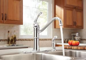Moen Wetherly 1.5 gpm Single Lever Handle Deckmount Kitchen Sink Faucet High Arc Spout 3/8 in. Compression Connection M87999