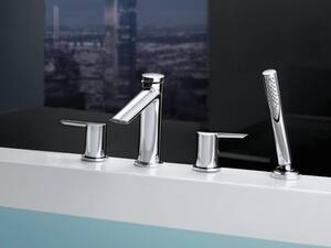 Delta Faucet Compel® 4-Hole Roman Tub Faucet with Hand Shower and Double Lever Handle Deckmount (Trim Only) DT4761