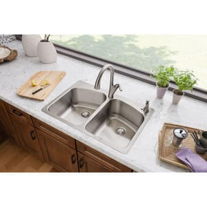 Elkay Harmony™ 3-Hole 2-Bowl Topmount Kitchen Sink Kit with Perfect Drain in Lustrous Highlighted Satin ELKHSR33229PD3