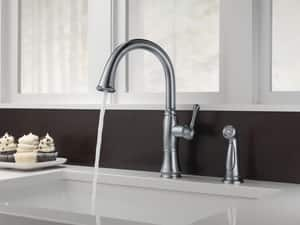 Delta Faucet Cassidy™ 1.8 gpm Single Lever Handle Deckmount Kitchen Sink Faucet 360 Degree Swivel Spout 3/8 in. Compression Connection D4297DST