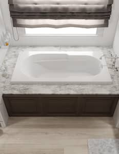 Jacuzzi Signature™ 60 x 36 in. 6-Jet Acrylic Rectangle 3-Tile Flange Whirlpool Bathtub with Right Drain and Manual On or Off JJ2T6036WRL1XX