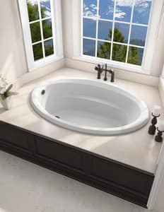 Jacuzzi Signature™ 60 x 42 in. 6-Jet Acrylic Oval in Rectangle Drop-In Whirlpool Bathtub with Left Drain and Manual On or Off JJ4T6042WLB1HX