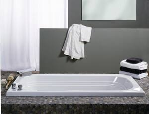 Jacuzzi Luxura® 60 x 32 in. 8-Jet Acrylic Oval in Rectangle Drop-In or Skirted Whirlpool Bathtub with Right Drain and J2 Basic Control JLUX6032WRL2HX