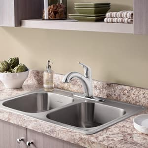 American Standard Quince™ 2.2 gpm Single Lever Handle Deckmount Kitchen Sink Faucet 360 Degree Swivel A4433100