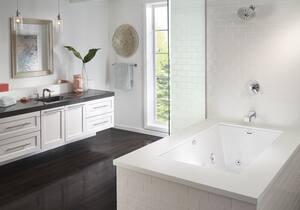 Jacuzzi Elara® 72 x 36 in. Acrylic Rectangle Drop-In or Undermount Air Bathtub with Left Drain and J4 Luxury Control JELA7236ALR4CX