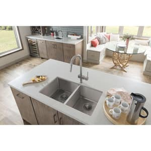 Elkay Crosstown™ 4-Hole 2-Bowl Dualmount Kitchen Sink Kit in Polished Satin EECTSRO33229RBG4