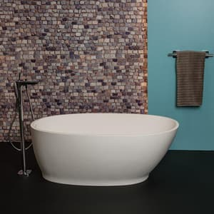 Jacuzzi Urbino™ 55-9/10 x 32-1/2 in. Luxecast Solid Surface Oval Freestanding Bathtub with End Drain JURF5633BUXXX