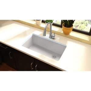 Elkay Quartz Classic® 33 x 18-3/4 in. No-Hole 1-Bowl Granite Undermount Kitchen Sink with Rear Right Drain EELGU133220