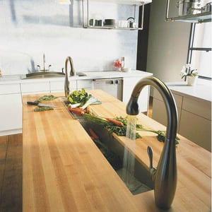Kohler Essex® 1.8 gpm Double Wristblade Handle Deckmount Kitchen Sink Faucet Swing Spout Gooseneck Spout 3/8 in. OD Connection K8763