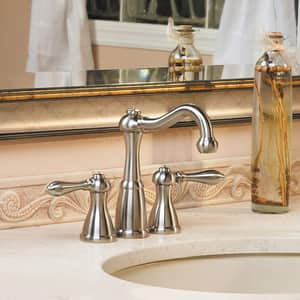 Pfister Marielle™ 3-Hole Mini Widespread Bath Faucet with Double Lever Handle and 5-23/32 in. Spout Reach in Brushed Nickel PLF046M0BK