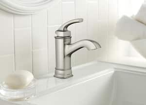 Moen Hensley™ 1.2 gpm 1 or 3-Hole High Arc Bathroom Faucet with Single Lever Handle in Spot Resist Brushed Nickel MWS84414MSRN
