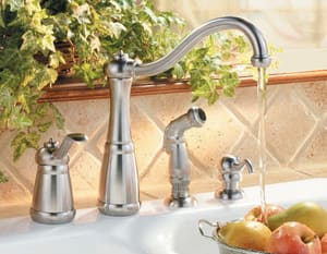 Pfister Marielle™ 1.8 gpm 4-Hole Kitchen Faucet with Single Lever Handle in Stainless Steel PLF0264NSS