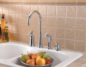 Pfister Ashfield™ 3 or 4-Hole Kitchen Faucet with Single Lever Handle PLG264YP