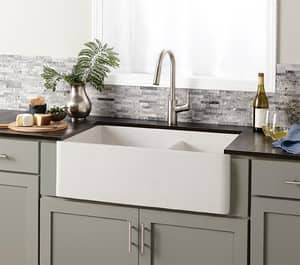 Native Trails Kitchen & Bath NativeStone™ 10-1/4 in. 2-Bowl Undermount and Apron Front Kitchen Sink NNSKD3321
