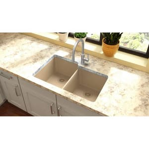 Elkay Quartz Classic® 9-1/2 in. 2-Bowl Undermount Kitchen Sink EELGU250R0