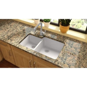 Elkay Quartz Classic 33 x 20-11/16 in. No-Hole Double Bowl Undermount Kitchen Sink EELGOU3321L0