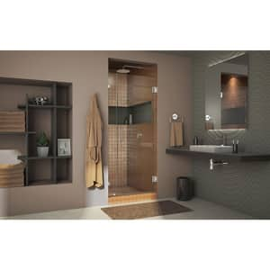 Bath Authority Unidoor Lux 34 in. Frameless Hinged Shower Door with Clear Glass DSHDR23347210