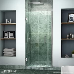 Bath Authority Unidoor 34 in. Frameless Hinged Shower Door with Clear Glass DSHDR20337210