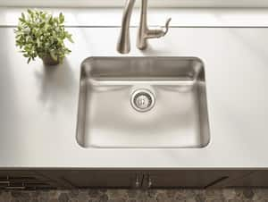 Moen 1800 Series 1-Bowl Undermount Kitchen Sink with Rear Center Drain in Stainless Steel MG18192B