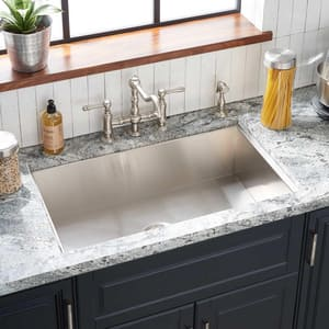 Mirabelle® Sitka 17 in. 4-Hole 1-Bowl Undermount, Self-Rimming and Topmount Kitchen Sink with Center Drain in Brushed Stainless Steel MIRDM1BZ4