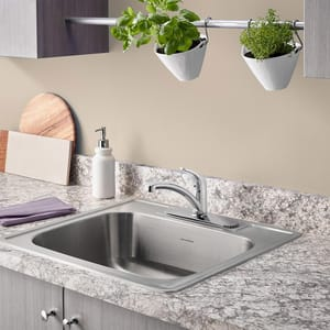 Colony® Pro 1.5 gpm Single Lever Handle Kitchen Sink Faucet with Spray and Deckplate A7074040