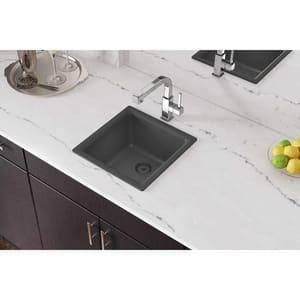 Elkay Quartz Classic 15-3/4 x 15-3/4 in. No-Hole Single Bowl Dual Mount Bar Sink EELG16160