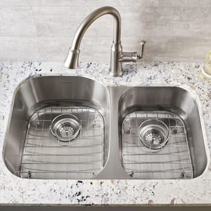 American Standard Portsmouth® 34 x 22 in. 2-Bowl Undermount Portsmouth Kitchen Sink in Stainless Steel A18CR9322100S075