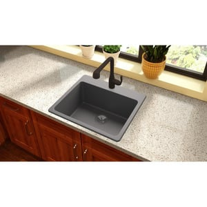 Elkay Quartz Luxe 1-Bowl Self-rimming or Drop-in Kitchen Sink in Charcoal (Less Hole) EELX2522CH0