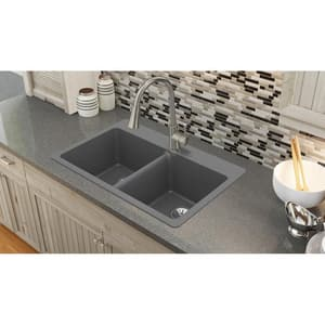 Elkay Quartz Luxe 2-Bowl Self-rimming or Drop-in Kitchen Sink (Less Hole) EELX33220