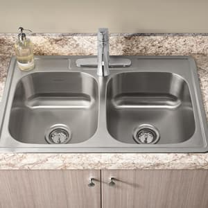 American Standard Colony® 6 in. 20 ga 3-Hole 2-Bowl Top Mount Kitchen Sink Kit in Stainless Steel A22DB6332283C075