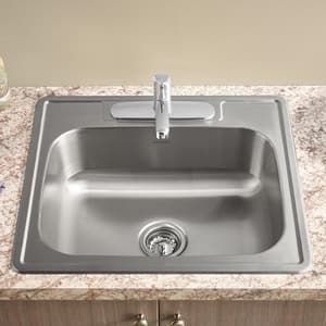 American Standard Colony® 6 in. 20 ga 1-Hole 1-Bowl Top Mount Kitchen Sink in Stainless Steel A22SB6151511S075