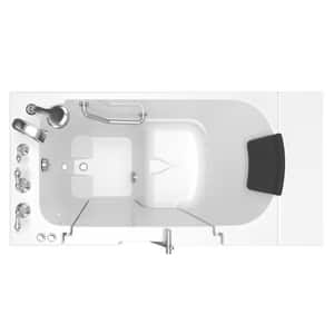 American Standard 109 Premium Series 52 x 30 in. 26-Jet Gelcoat and Fiberglass Rectangle Built-In 3-Wall Alcove Bathtub with Left Drain A3052OD109AL