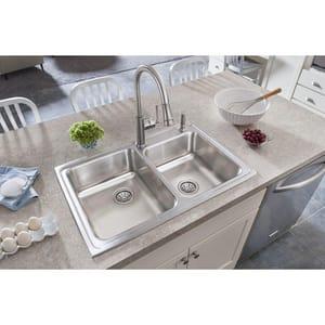 Elkay Lustertone® 1 -Hole 2-Bowl Stainless Steel Kitchen Sink ELR2501