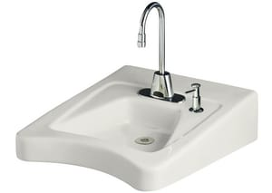 Kohler Morningside™ 1-Hole Rectangular Wall Mount Bathroom Sink with Right Hand Soap Dispenser Hole K12638-R